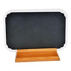 Tabla pentru scris meniu, sugestii, mesaje, din ceramica pe suport de bambus, negru-alb, Cosy&Trendy, 22.3 x 14.6 cm