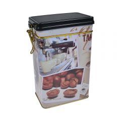 Cutie metalica depozitare alimente, recipient cu capac etans din plastic, Coffee, 1.8 L, multicolor, 11.7 x 7.8 x 19.7 cm