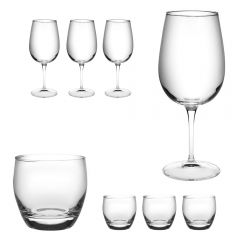 Set 8 pahare, 4 x pahar cu picior vin rosu/rose/alb/cocktail 500 ml + 4 x pahar apa 370 ml, Bormioli Rocco, model Spazio, fabricat in Italia, transparent