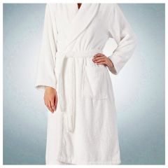 Halat baie, 100% bumbac, superabsorbant, 340 g/mp, halat baie hotel/pensiune, alb, Maxx, L