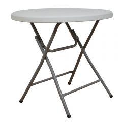 Masa plianta rotunda pentru Banchet/Evenimente/Catering, picioare metal pliabile,  d 80 cm, h 74 cm, alb, Atelier