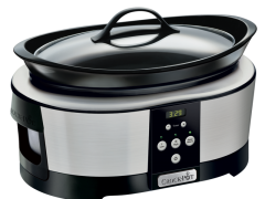 Slow cooker Crock Pot SCCPBPP605-050, 5.7 L Digital, 3 setari, Functie Automata de pastrare la cald, Vas Ceramic Detasabil, Negru