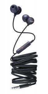 Casti audio Philips UpBeat SHE2405BK/00, intraauriculare, microfon incorporat, design ergonomic, izolare fonica, lungime cablu 1.2m, Negru