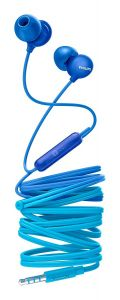 Casti audio Philips UpBeat SHE2405BL/00, intraauriculare, microfon incorporat, design ergonomic, izolare fonica, lungime cablu 1.2m, Albastru
