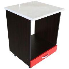 Corp pentru cuptor incorporabil cu sertar Zebra, wenge/Rosu lucios, cu blat Travertin, 60 x 85 x 60 cm