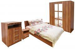 Dormitor Napoli cu pat 140x200 cm, Prun