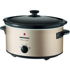 Heinner Slow Cooker HSCK-C35CR, 3.5 L, Vas Ceramica, Control Mecanic, 2 Setari temperatura, Timer, Auriu