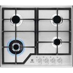 Plita incorporabila pe gaz Electrolux KGS6436SX, 4 zone de gatit, aprindere electrica, dispozitiv de siguranta, gratare fonta, arzator Wok, 60 cm, inox
