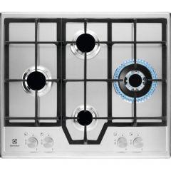 Plita incorporabila pe gaz Electrolux KGS6456SX, 4 zone de gatit, aprindere electrica, dispozitiv de siguranta, arzator Wok, gratare fonta, 60 cm, inox