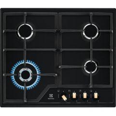 Plita incorporabila pe gaz Electrolux KGS6436RK, 4 zone de gatit, aprindere electrica, dispozitiv de siguranta, arzator Wok, gratare fonta, 60 cm, negru