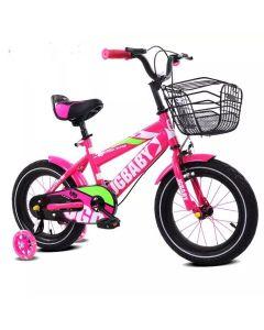 Bicicleta Ary  roz ,pentru copii cu varsta intre 2-6 ani,roti aparatoare cu beculete si cosulet pentru jucarii
