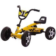 Kart cu pedale Kido k 80 galben,model nou pentru copii cu varsta intre 2-5 ani,roti cauciuc Eva