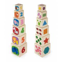 Set cuburi de lemn Viga Toys