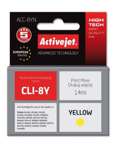 Cartus compatibil CLI-8Y Yellow pentru Canon, 14 ml, Premium Activejet, Garantie 5 ani