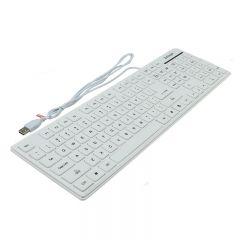 Tastatura slim interfata USB, cu fir, 107 taste, Activejet K-3016SW, Alb