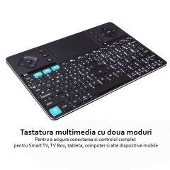Tastatura Rii K16 multimedia dual mode, wireless, cu carcasa din aluminiu