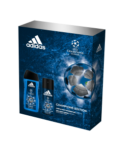 Set cadou Adidas UEFA Champions Edition, Barbati: Deodorant natural spray 75 ml + Gel de dus 250 ml