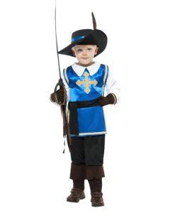 Costum muschetar copii albastru   110 cm (3-4 ani)