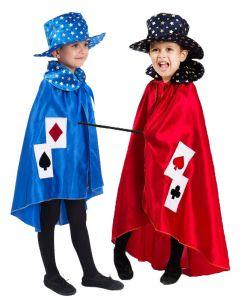 Pelerina si palarie magician copii   130 cm (6-7 ani)  Albastru