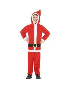 Costum Mos Craciun copii salopeta cu gluga   130 cm (6-7 ani)