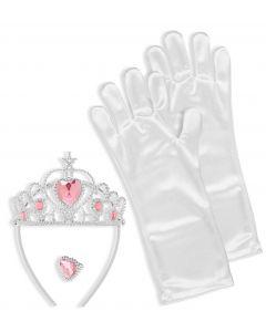 Inel roz, tiara si manusi albe printesa copii