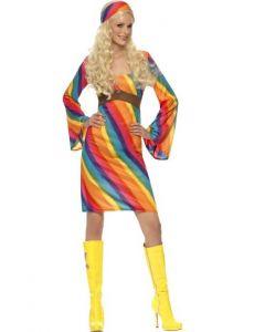 Costum hippie anii 60 Multicolor   L