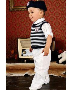 Costum ocazie baieti alb cu vesta 4 piese   68 cm (4-6 luni)