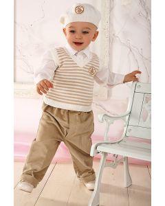 Costum ocazie baieti crem cu vesta 4 piese   86 cm (16-22 luni)
