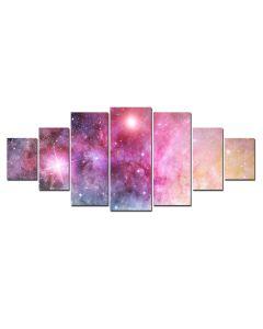 Set Tablou DualView Startonight Galaxie multicolora, 7 piese, luminos in intuneric, 100 x 240 cm