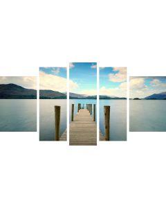 Set Tablou DualView Startonight Pod pe Plaja, 5 piese, luminos in intuneric, 90 x 180 cm (1 piesa 30 x 90 cm, 2 piese 30 x 80 cm, 2 piese 40 x 60 cm)