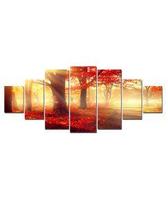 Set Tablou DualView Startonight Padurea rosie, 7 piese, luminos in intuneric, 100 x 240 cm