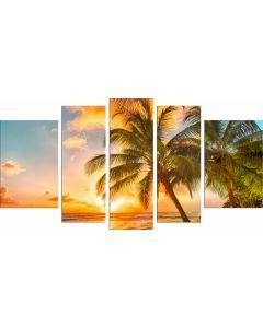 Set Tablou DualView Startonight Palmier pe plaja, 5 piese, luminos in intuneric, 90 x 180 cm (1 piesa 30 x 90 cm, 2 piese 30 x 80 cm, 2 piese 40 x 60 cm)
