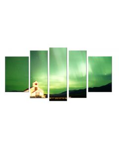 Set Tablou DualView Startonight Aurora verde, 5 piese, luminos in intuneric, 90 x 180 cm (1 piesa 30 x 90 cm, 2 piese 30 x 80 cm, 2 piese 40 x 60 cm)