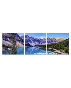Set Tablou DualView Startonight Lac de Munte, 3 piese, luminos in intuneric, 60 x 180 cm (3 piese x 60x60 cm)