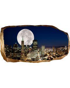 Fototapet 3D Startonight Luna plina peste oras, luminos in intuneric, 2.20 x 1.20 m