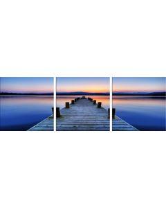 Set Tablou DualView Startonight Plaja Violet, 3 piese, luminos in intuneric, 60 x 180 cm (3 piese x 60x60 cm)