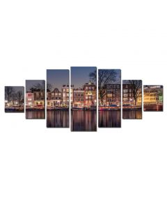Set Tablou DualView Startonight Amsterdam, 7 piese, luminos in intuneric, 100 x 240 cm (1 piesa 40 x 100 cm, 2 piese 35 x 90 cm, 2 piese 30 x 60 cm, 2 piese 30 x 40 cm)