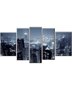 Set Tablou DualView Startonight Hong Kong, 5 piese, luminos in intuneric, 90 x 180 cm (1 piesa 30 x 90 cm, 2 piese 30 x 80 cm, 2 piese 40 x 60 cm)
