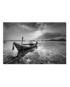 Tablou Alb-Negru Abstract Startonight, Dimineata la pescuit, luminos in intuneric, 60 x 90 cm
