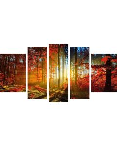 Set Tablou DualView Startonight Frunze rosii in Lumina Diminetii, 5 piese, luminos in intuneric, 90 x 180 cm (1 piesa 30 x 90 cm, 2 piese 30 x 80 cm, 2 piese 40 x 60 cm)