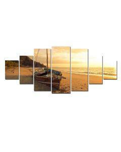 Set Tablou DualView Startonight Barca pe plaja la apus, 7 piese, luminos in intuneric, 100 x 240 cm
