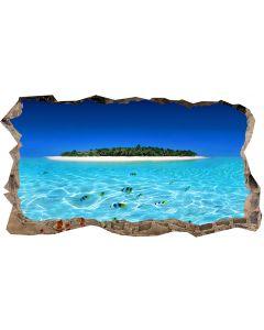 Fototapet 3D Startonight Insula si apa clara, luminos in intuneric, 2.20 x 1.20 m