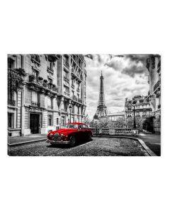 Tablou Alb-Negru Abstract Startonight, Masina rosie in Paris, luminos in intuneric, 60 x 90 cm