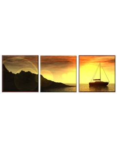 Set tablou DualView Startonight Barca pe apa, luminos in intuneric, 40 x 120 cm (3 piese 40 x 40 cm)