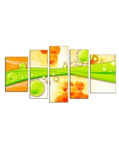 Set Tablou DualView Startonight Poveste in verde si galben, 5 piese, luminos in intuneric, 90 x 180 cm (1 piesa 30 x 90 cm, 2 piese 30 x 80 cm, 2 piese 40 x 60 cm)