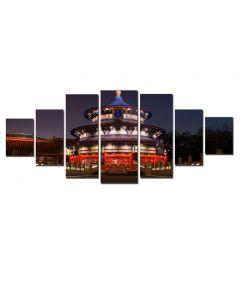 Set Tablou DualView Startonight Templu noaptea, 7 piese, luminos in intuneric, 100 x 240 cm (1 piesa 40 x 100 cm, 2 piese 35 x 90 cm, 2 piese 30 x 60 cm, 2 piese 30 x 40 cm)
