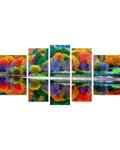 Set Tablou DualView Startonight Culorile Padurii, 5 piese, luminos in intuneric, 90 x 180 cm (1 piesa 30 x 90 cm, 2 piese 30 x 80 cm, 2 piese 40 x 60 cm)
