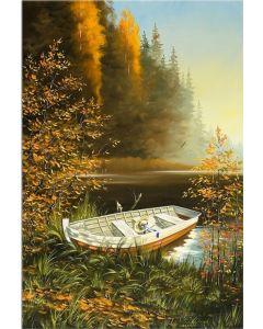 Tablou DualView Startonight Barca pe lac, luminos in intuneric, 60 x 90 cm