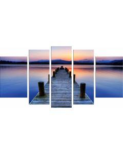 Set Tablou DualView Startonight Plaja Violet, 5 piese, luminos in intuneric, 90 x 180 cm (1 piesa 30 x 90 cm, 2 piese 30 x 80 cm, 2 piese 40 x 60 cm)