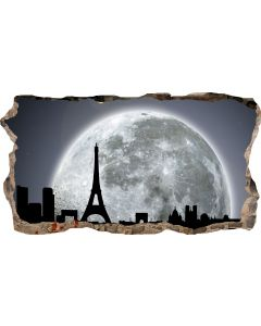 Fototapet 3D Startonight Fereastra spre Parisul sub lumina Lunii, luminos in intuneric, 2.20 x 1.20 m